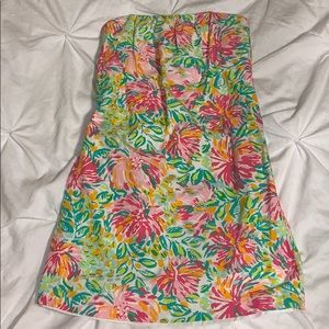 Lilly Pulitzer strapless dress Sz 4 green pink